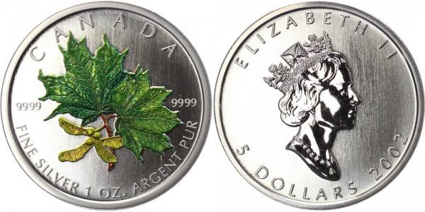 Kanada 5 Dollar 2002 Maple Leaf, farbig - Frühling