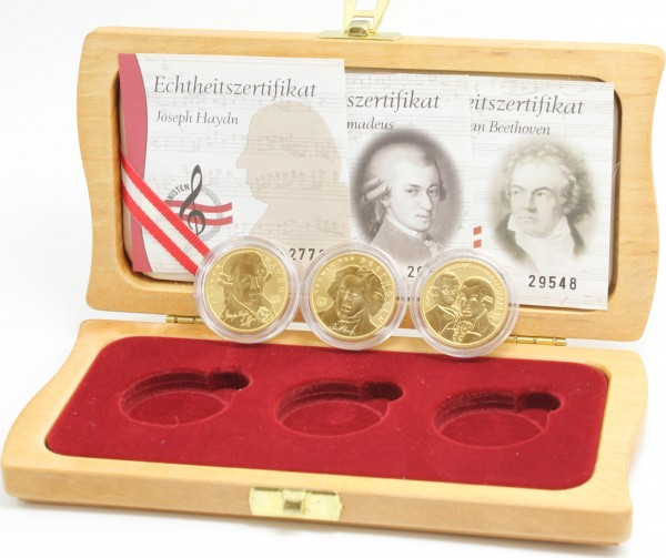 Österreich 3x 50 Euro 2004-2006 Joseph Haydn, Wolfgang Amadeus Mozart, Ludwig van Beethoven