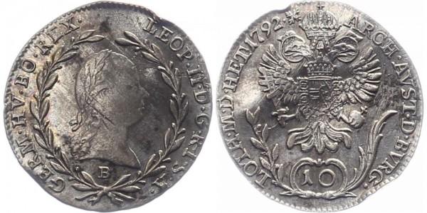 Haus Habsburg 10 Kreuzer 1792 B Leopold II.