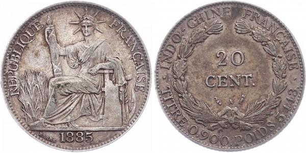 Indochina 20 cent 1885 - Kursmünze