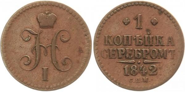 Rußland 1 Kopeke 1842 SPM Kursmünze