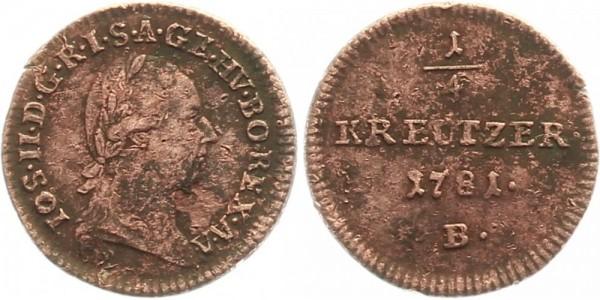 Österreich ¼ Kreuzer 1781 B Kursmünze