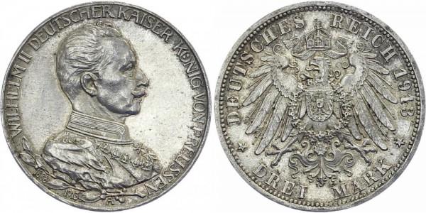 PREUSSEN 3 Mark 1913 A Wilhelm II. Reg. Jubiläum