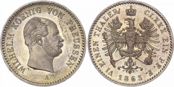 Preussen 1/6 Taler 1863 A Wilhelm I., Stempelglanz!