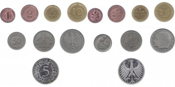 Kursmünzensatz 1 Pf - 5 DM 1970 G