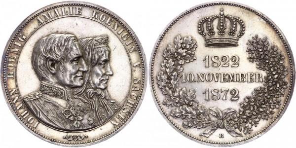Sachsen Doppeltaler 1872 - Auf die Goldene Hochzeit 1872, Johann 1854-1873
