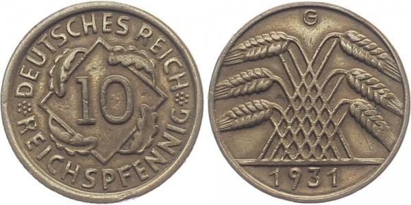 Weimarer Republik 10 Reichspfennig 1931 G