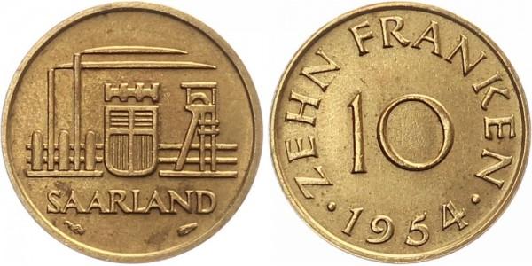 Saarland 10 Franken 1954 Paris