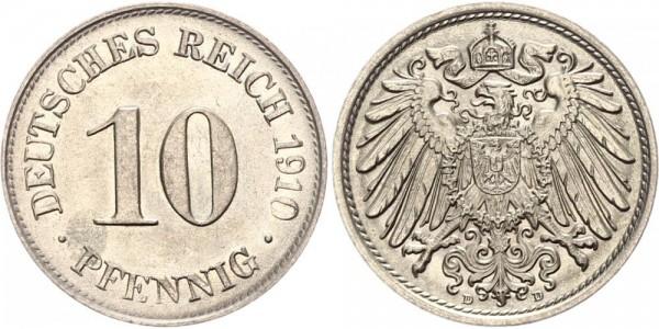 Kaiserreich 10 Pfennig 1910 D Kursmünze