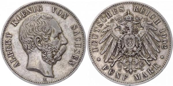 Sachsen 5 Mark 1902 D Albert 1873 - 1902