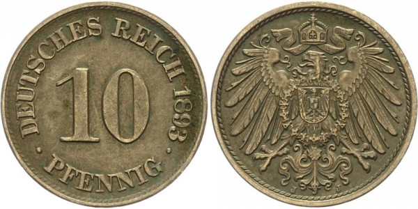 Kaiserreich 10 Pfennig 1893 J Kursmünze