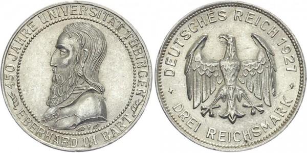 Weimarer Republik 3 Mark 1927 F Uni Tübingen