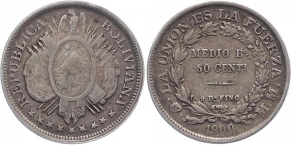 Bolivien 50 Cents 1900 - Kursmünze