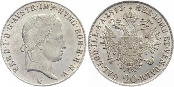 Österreich 20 Kreuzer 1843 - Kursmünze