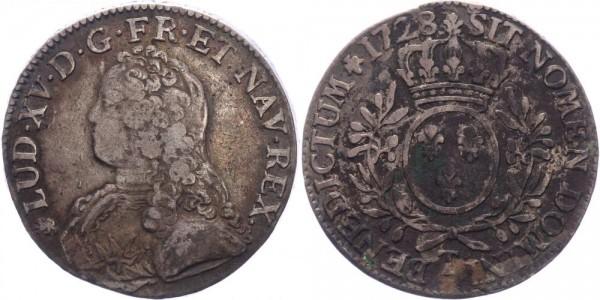 Frankreich 1 Ecu 1728 T (Nantes) König Ludwig XV. ( 1715 - 1779 )