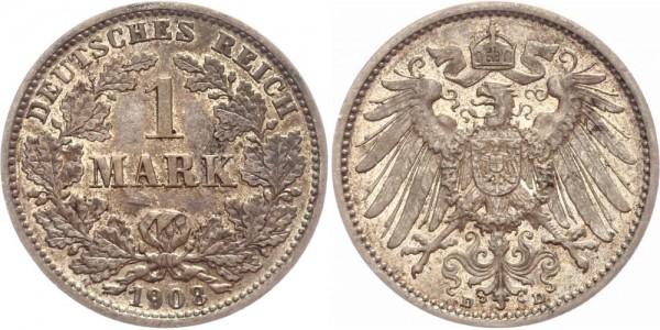 Deutsches Reich 1 Mark 1908 D Großer Adler