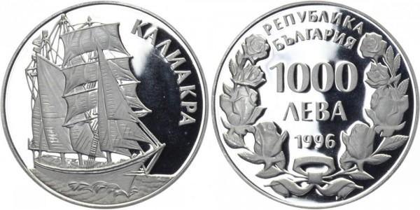 """BULGARIEN 1000 Leva 1996 - Segelschiff """"Kaliakra"""""""