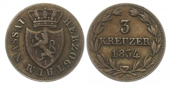 Nassau 3 Kreuzer 1834