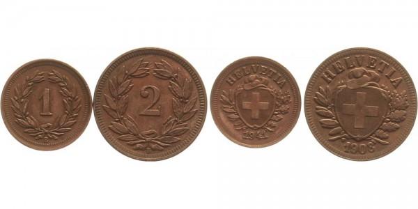 Schweiz 1 und 2 Rappen 1908 u. 1941 - Lot