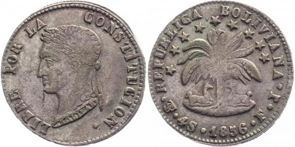Bolivien 4 Soles 1856 - Simon Bolivar