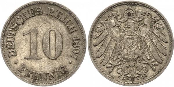 Kaiserreich 10 Pfennig 1897 G Kursmünze