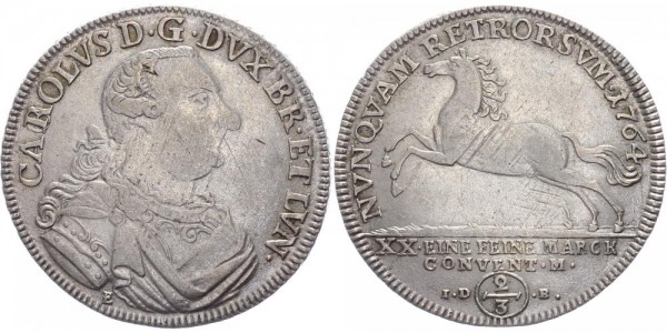 Braunschweig-Wolfenbüttel 2/3 Taler 1764 - Karl I. 1735-1780