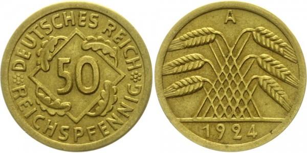 Weimarer Republik 50 Reichspfennig 1924 A