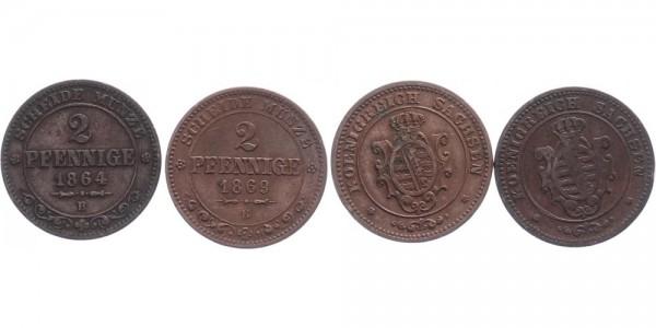 Sachsen 2x 2 Pfennig 1864 und 1869