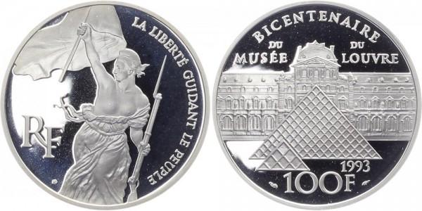 Frankreich 100 Francs 1993 - 200 Jahre Louvre, Freiheit von Delacroix