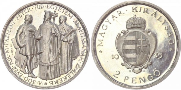 Ungarn 2 Pengö 1935 - Budapest, Restrike