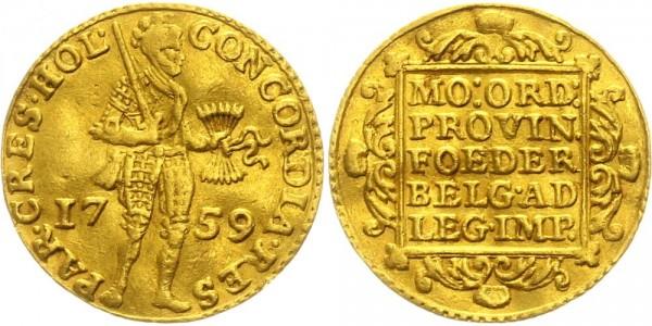 Niederlande-Holland 1 Dukat 1759 Stehender Ritter