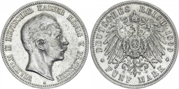 PREUSSEN 5 Mark 1899 A Wilhelm II.