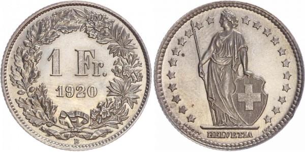 Schweiz 1 Franken 1920 B Kursmünze