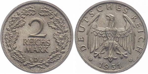 Weimarer Republik 2 Reichsmark 1931 D
