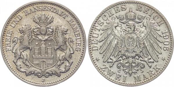 Hamburg 2 Mark 1906 J Stadt