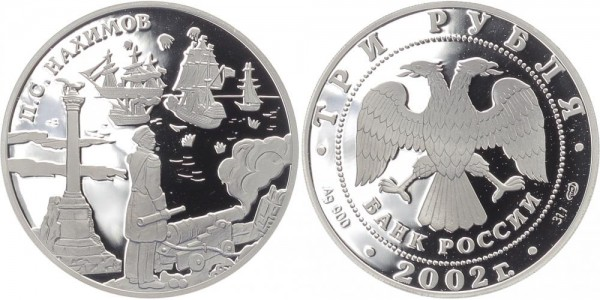 Russland 3 Rubel 2002 - Admiral P.S. Nachimov
