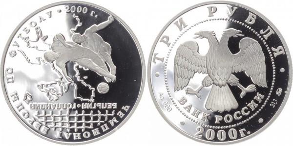 Russland 3 Rubel 2000 - Fußball EM 2000