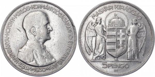 Ungarn 5 Pengö 1930 Budapest Admiral Miklos Horthy