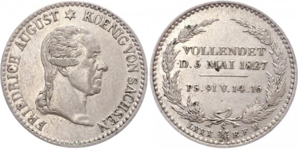 Sachsen 1/6 Taler 1827 - Sterbetaler
