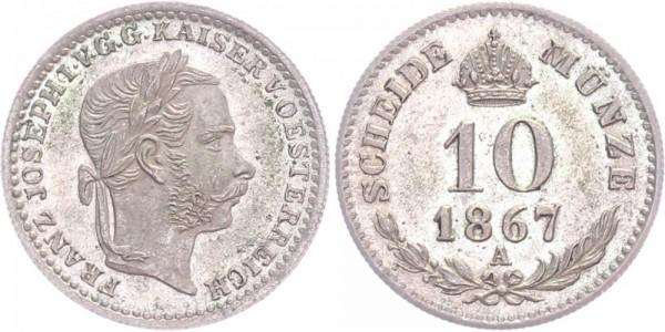 Österreich 10 Kreuzer 1867 A Franz Josef