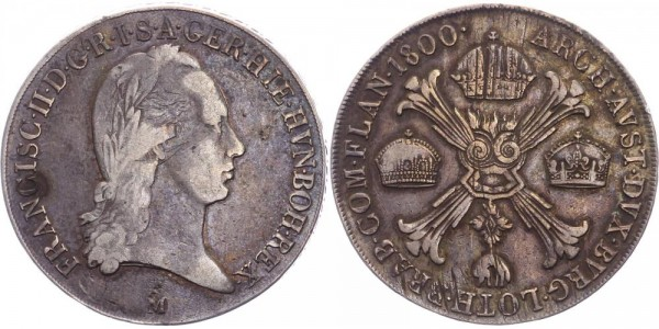 RDR/Österreich/Haus Habsburg Kronentaler 1800M Mailand Franz II. / I. ( 1792 - 1835 )