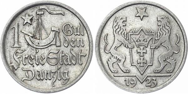 DANZIG 1 Gulden 1923 - Zwei Löwen