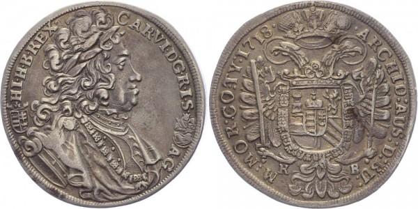 Habsburg, RDR 1/2 Taler 1718 KB (Kremnitz) Karl VI. 1711-1740
