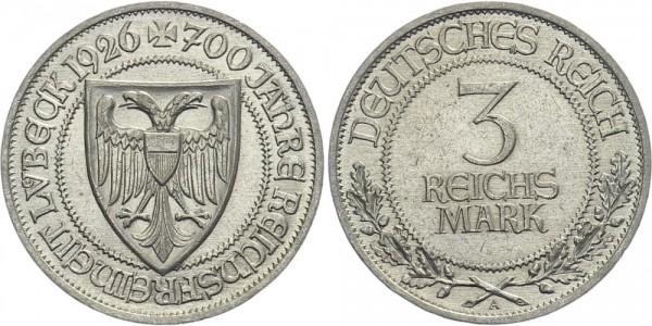 Weimarer Republik 3 Mark 1926 A Reichsfreiheit Lübeck