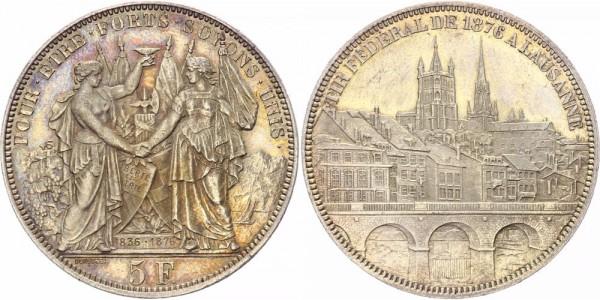 Schweiz 5 Franken/Schützentaler 1876 - Schützenfest in Lausanne