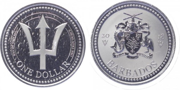 Barbados 1 Dollar 2018 - Dreizack