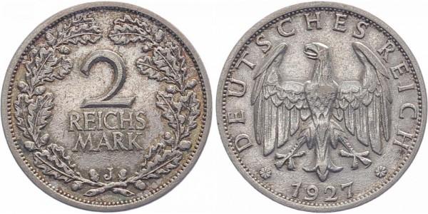 Weimarer Republik 2 Reichsmark 1927 J