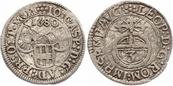 Nürnberg 3 Kreuzer 1680 - Johann Caspar von Ampringen