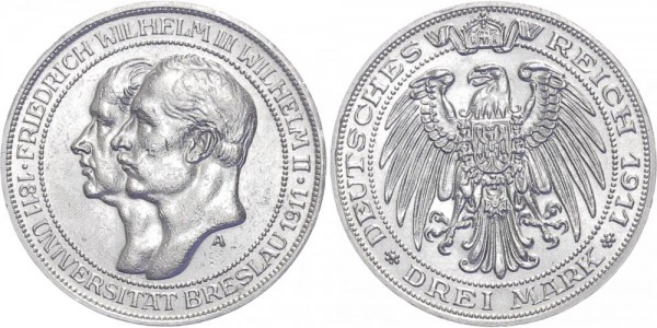 Preussen 3 Mark 1911 A Uni Breslau