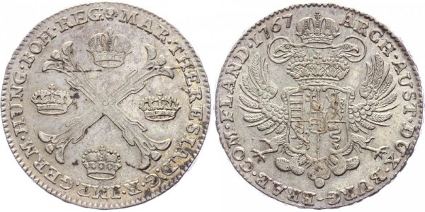 Brüssel 1 Kronentaler 1767 Maria Theresia ( 1740 - 1780 )